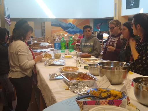 Interested students and staff recently enjoyed a mulitcultural potluck lunch.