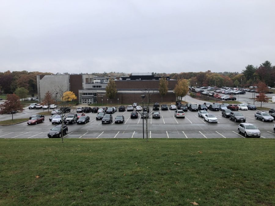 The RMHS main parking lot, usually full on a school day, has plenty of open spaces during hybrid learning.