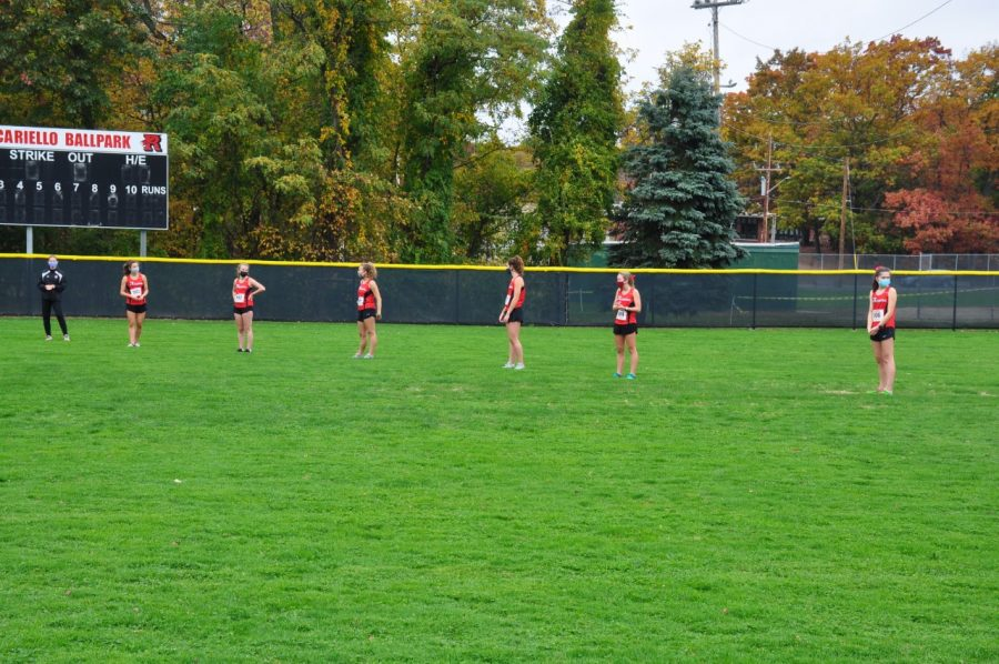 Senior girls on the cross country team were honored, in socially distant fashion, before last Saturday's meet.