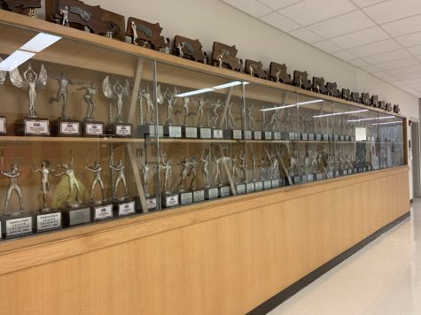 The Trophy case on Main Street at RMHS.
