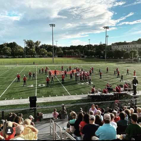 RMHS Marching Band is shown at a recent competition in Melrose.