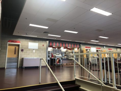 Due to labor and supply shortages, the door to the grill line (far left) in the RMHS cafeteria has been closed all year.