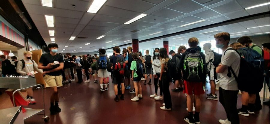 On a recent day at RMHS, students waited in a long line for lunch in the cafeteria.